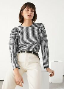 & Other Stories Black Gingham Jacquard Puff Sleeve Blouse Top Size 36 UK 10 £65