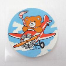 Vintage 1980s Regency Art Sticker Round Circular Teddy Bear Airplane Plane Sky