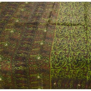 Tcw  Vintage Printed  Sarees Pure Silk Craft Fabric Green 5 Yard Sari
