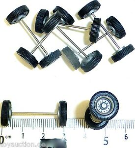 8 Piece Wheel Set Truck Rims Silver H0 1:87 Tuning Load Decor R321 Å