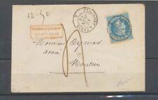 1868 Env. 20c obl ambulant Clermont à Paris Taxe 4 grille A.I. spéciale X4812