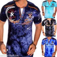 ZAHIDA Herren T-Shirt 2 in 1 Shirt Clubwear V-Neck Designer Polo M L XL XXL NEU