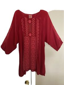 Johnny Was Red Embroidered Eyelet Cupra Rayon 3/4 Sleeve Tunic blouse 1X
