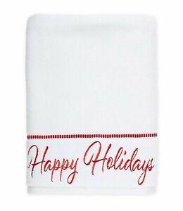 "Embroidered ""Happy Holidays"" Bath Towel White/Red OEKO TEX 27x54 NWT"
