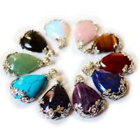 Natural Quartz Crystal Stone Teardrop Flower Healing Gemstone Pendant Necklace