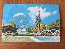 POSTCARD UNUSED 1964-65 NEW YORK WORLD'S FAIR UNISPHERE/ROCKET THROWER LARGE 6x9
