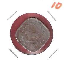 RARE INDIA 1954 BULL 2 ANNAS COIN # 10
