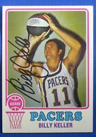 BILLY KELLER autograph signed auto 1973-74 Topps ABA Indiana Pacers