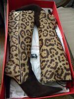 VALENTINO GARAVANI Leopard Pony Calf Hair Br Lace Up High Boots Sx. 39.5M $1,250