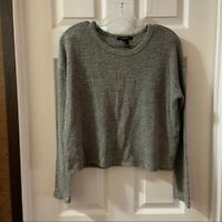Forever 21 Women's Grey Long Sleeve Cropped Knit Top size Medium