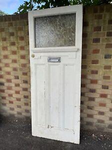 Reclaimed Victorian Edwardian Wooden Panel External Front Door 2030 x 812mm