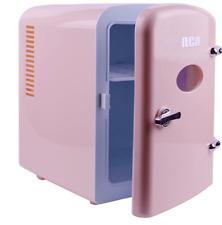 Girls Retro Pink Mini Fridge Small Portable Compact 6 Can Bedroom Refrigerator