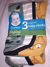 Gerber Baby Boy 3-Pack Burp Cloths Organic Cotton Bears Camo - Free Shipping!