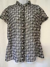 Lane Bryant 14/16 SHEER Black Cream Gray Blouse Top Shirt Career Casual NICE!