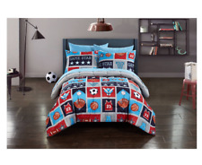 New Blue Sports Twin Size Comforter Set Bed in Bag Boy's Sheets Girl's Bedspread