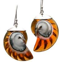 """1 1/4"""" COGNAC AMBER OPEN CHAMBER NAUTILUS SHELL STERLING SILVER earrings"""
