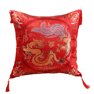 Red Color Shiny Blessing Wedding Throw Pillow Case Home Sofa Car Cushion Cover