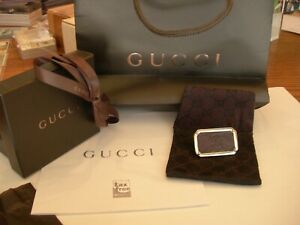 Gucci Money Clip /Silver with  GG Logo in Brown Leather / Bought in Roma /unused