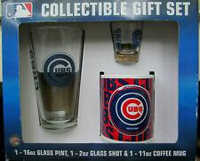 Chicago Cubs MLB Collectible Gift Set w/ Glass Pint Coffee Mug Shot Glass New