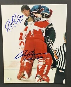 Patrick Roy & Chris Osgood Signed 11x14 Famous Fight Photo Autographed Auto COA