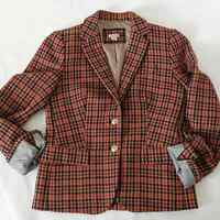 J. Crew Patterned Schoolboy Blazer Red Herringbone Tailored Fit Womens Size 4