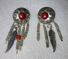 Vintage Silver & Coral Concho Earrings w/ Heishi & Feather Dangly