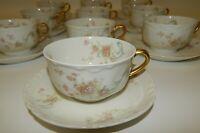 10 Haviland Limoges France Pink Roses Blue Scrolls Gilt Cup & Saucer Sets