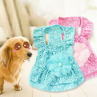 Pet Princess Dress Cat Puppy Cotton Clothes LaceFlower Skirt For Dog Summer