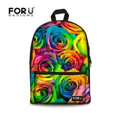 High School Bag Girls Student Canvas Backpack Large Book Bags Multi Rose Bookbag