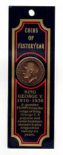 Collector King George V 1920 Bronze 1 Penny Coin with History on the back sealed