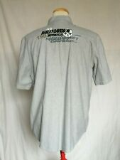 Harley-Davidson Willie G Skull Print Button Down Shirt Large Gray Short Sleeve