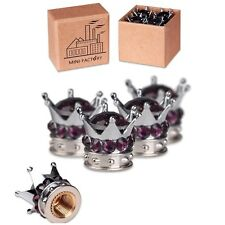 4 Pcs Bling Purple Diamond Crown Chrome Car Tire Valve Stem Air Caps for All Car