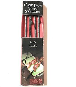 Charcoal Companion Set of 4 Cast Iron Twig Grilling Kabob Skewers