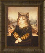 MONA PEACHES by Melinda Copper FRAMED PRINT PICTURE 17x20 Cat Lisa Whimsical