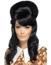 60s 1960s 60's Brigitte Bouffant Fancy Dress Wig Black Beehive New by Smiffys