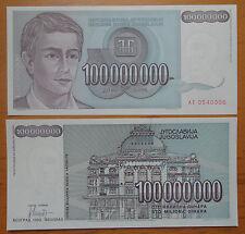 YUGOSLAVIA Paper Money 100000000 Dinara 1993 UNC