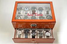 20 Watch Glass Top Oak Display & Storage Case Box + Free Polishing Cloth