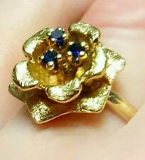 14K Yellow Gold Sapphire Rose Style Ring