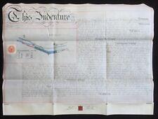 Warwick & Birmingham Canal 1885 Vellum Indenture for Land at Sparkbrook