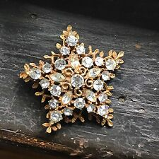 Vintage Star Rhinestone Brooch Pin CORO Goldtone Signed