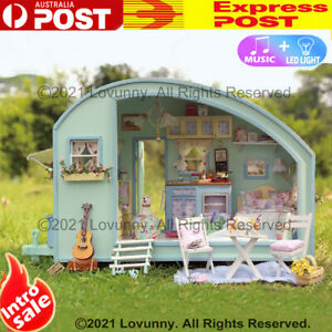 DIY LED Music Outback Life Dollhouse Miniature Wooden Furniture Kit Doll House