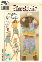 1988 Simplicity # 8605 Sewing Pattern: Misses Pullover Top Shorts & Skirt Uncut