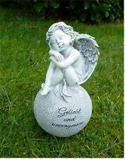 * Engel sitzend auf Kugel Dekofigur Gusseisen Grün Dekoration Garten Statue