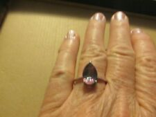 geniune mystic topaz ring 8x12 pear shaped 925 ss rhodium plated size9