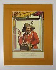 Old advertising print image behind PASSEPARTOUT Poetry Hunting Campe 50x40cm 207