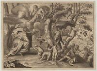 JUPITER Myrmidonen Original Ovid Kupferstich um 1670 signiert Ameisenkinder