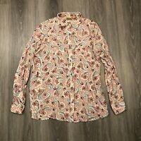 Wrangler Womens Medium White Paisley Floral Rayon Snap Button Blouse Shirt Top