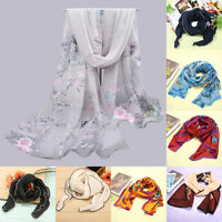Fashion Women Long Soft Chiffon Scarf Wrap Large Silk Shawl Stole Scarves Kit AU