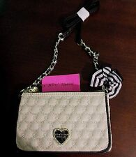 BETSEY JOHNSON CROSS-BODY QUILTED SWAG HEARTS Shoulder Bag Cream/Black NWT
