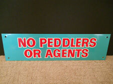 "Vintage No Peddlers Or Agents Thin Aluminum Metal Sign Green Red White 4"" X 14"""